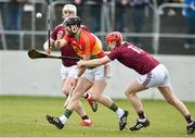 3 February 2019; Richard Coady of Carlow in action against Thomas Monaghan and Joe Canning of Galway during the Allianz Hurling League Division 1B Round 2 match between Carlow and Galway at Netwatch Cullen Park in Carlow. Photo by Matt Browne/Sportsfile