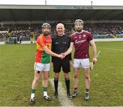 3 February 2019; Referee Cathal McAllister with Carlow captain Richard Coady and Galway captain Padraic Mannion before the Allianz Hurling League Division 1B Round 2 match between Carlow and Galway at Netwatch Cullen Park in Carlow. Photo by Matt Browne/Sportsfile