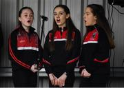 3 February 2019; Players from Swinford Killaser LGFC sing the national anthem ahead of the Lidl Ladies Football National League Division 1 Round 1 match between Mayo and Tipperary at Swinford Amenity Park in Swinford, Co. Mayo. Photo by Sam Barnes/Sportsfile