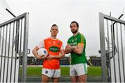 4 February 2019; Mark Shields of Armagh and Graham Reilly of Meath during an Allianz Football League media event ahead of the Meath and Armagh fixture at Páirc Tailteann in Navan, Co. Meath. Photo by Ramsey Cardy/Sportsfile