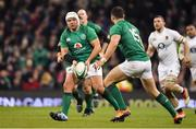 2 February 2019; Rory Best of Ireland passes to team-mate Robbie Henshaw during the Guinness Six Nations Rugby Championship match between Ireland and England in the Aviva Stadium in Dublin. Photo by Brendan Moran/Sportsfile