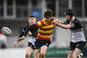 5 February 2019; James Nicholson of Temple Carrig School is tackled by Calum Corcoran of Newbridge College during the Bank of Ireland Leinster Schools Junior Cup Round 1 match between Newbridge College and Temple Carrig School at Energia Park in Dublin. Photo by Harry Murphy/Sportsfile