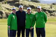 6 February 2019; Irish golf legend Padraig Harrington meets Team Ireland Dublin golfers, from left, Mark Claffey, from Blackrock, Andrew Simington, from Dalkey, and John Keating, from Templeogue, at the Portmarnock Links Hotel in Portmarnock, Co Dublin. Photo by Piaras Ó Mídheach/Sportsfile