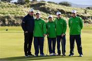6 February 2019; Irish golf legend Padraig Harrington meets Team Ireland Dublin's golfers, from left, Mark Claffey, from Blackrock, Phyl Kelleher, from Rathfarnham, Andrew Simington, from Dalkey, and John Keating, from Templeogue, at the Portmarnock Links Hotel in Portmarnock, Co Dublin. Photo by Piaras Ó Mídheach/Sportsfile
