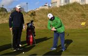6 February 2019; Irish golf legend Padraig Harrington with Mark Claffey, from Blackrock, Co Dublin, as he meets Team Ireland golfers at the Portmarnock Links Hotel in Portmarnock, Co Dublin. Photo by Piaras Ó Mídheach/Sportsfile