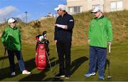 6 February 2019; Irish golf legend Padraig Harrington with Phyl Kelleher, Rathfarnham, Co Dublin, and Mark Claffey, from Blackrock, Co Dublin, as he meets Team Ireland golfers at the Portmarnock Links Hotel in Portmarnock, Co Dublin. Photo by Piaras Ó Mídheach/Sportsfile