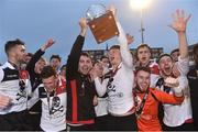 6 February 2019; UCC joint captains Daniel Pender, left, and Robert Slevin lift the RUSTLERS IUFU Collingwood Cup alongside their team-mates following the RUSTLERS IUFU Collingwood Cup Final match between University of Limerick and University College Cork at Markets Field in Limerick. Photo by Matt Browne/Sportsfile