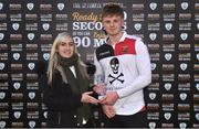 6 February 2019; Emma Yourell from RUSTLERS presents the player of the match trophy to Robert Slevin of UCC after the RUSTLERS IUFU Collingwood Cup Final match between University of Limerick and University College Cork at Markets Field in Limerick. Photo by Matt Browne/Sportsfile