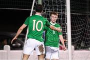 6 February 2019; Brandon Kavanagh, right, of Republic of Ireland U21's is congratulated by team-mate Neil Farrugia after scoring his side's first goal during the friendly match between Republic of Ireland U21's Homebased Players and Republic of Ireland Amateur at Home Farm FC in Whitehall, Dublin. Photo by Stephen McCarthy/Sportsfile