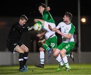 6 February 2019; Neil Farrugia of Republic of Ireland U21's in action against goalkeeper Brendan O'Connell and Paul Murphy of Republic of Ireland Amateurs during the friendly match between Republic of Ireland U21's Homebased Players and Republic of Ireland Amateur at Home Farm FC in Whitehall, Dublin. Photo by Stephen McCarthy/Sportsfile