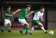 6 February 2019; Paul Murphy of Republic of Ireland Amateurs in action against Aaron Drinan of Republic of Ireland U21's during the friendly match between Republic of Ireland U21's Homebased Players and Republic of Ireland Amateur at Home Farm FC in Whitehall, Dublin. Photo by Stephen McCarthy/Sportsfile
