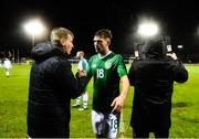 6 February 2019; Republic of Ireland U21 manager Stephen Kenny with Aaron Drinan during the friendly match between Republic of Ireland U21's Homebased Players and Republic of Ireland Amateur at Home Farm FC in Whitehall, Dublin. Photo by Stephen McCarthy/Sportsfile