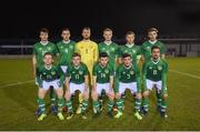 6 February 2019; The Republic of Ireland U21's team, back row, from left, Neil Farrugia, Conor McCarthy, Conor Kearns, Liam Scales, Jamie Lennon and Aaron Drinan, with, front row, Andy Lyons, Brandon Kavanagh, Aaron Bolger, Trevor Clarke and Zach Elbouzedi prior to the friendly match between Republic of Ireland U21's Homebased Players and Republic of Ireland Amateur at Home Farm FC in Whitehall, Dublin. Photo by Stephen McCarthy/Sportsfile