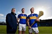 7 February 2019; Tipperary hurling captain Séamus Callanan, centre, with manager Liam Sheedy and team-mate Noel McGrath during an event organised by Tipperary GAA sponsor Teneo at Semple Stadium in Thurles, Co Tipperary. Photo by Matt Browne/Sportsfile