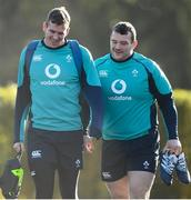 7 February 2019; Chris Farrell, left, and Jack McGrath arrive prior to Ireland Rugby squad training at Carton House in Maynooth, Co. Kildare. Photo by David Fitzgerald/Sportsfile