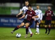 5 February 2019; Daniel Ridge of Longford Town in action against Michael Duffy of Dundalk during the pre-season friendly match between Dundalk and Longford Town at Oriel Park in Dundalk, Louth. Photo by Ben McShane/Sportsfile