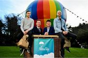 7 February 2019; The Sky's the limit for Irish Tech firm HireUp. Brand Ambassadors and snooker legends, Jimmy White, second from right, and Ken Doherty, second from left, were on hand to support the company's launch along with founders, Nathan Doyle, left, and David Maloney, at the Radisson Blu St. Helen's Hotel in Booterstown, Dublin. Photo by Sam Barnes/Sportsfile