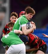 7 February 2019; James McCarthy of Gonzaga College in action against Jamie Watchorn of Kilkenny College during the Bank of Ireland Leinster Schools Junior Cup Round 1 match between Gonzaga College and Kilkenny College at Energia Park in Donnybrook, Dublin. Photo by Harry Murphy/Sportsfile
