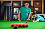 7 February 2019; Definitely not snookered! HireUp set to take on the world. The employee referral company was officially launched by snooker legends Jimmy White, left, and Ken Doherty, at the Radisson Blu St. Helen's Hotel in Booterstown, Dublin. Photo by Sam Barnes/Sportsfile