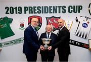 8 February 2019; FAI Director of Competitions Fran Gavin, left, and Martin Connolly, Dundalk General Manager with President Michael D Higgins, and The President's Cup at the FAI Headquarters in Abbottstown, Dublin, in advance of the Saturday's 2019 President's Cup Final, 9th February, at Turners Cross, between Cork City and Dundalk. Photo by Stephen McCarthy/Sportsfile