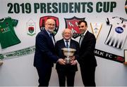 8 February 2019; FAI Director of Competitions Fran Gavin, left, and Paul Wycherley, Cork City General Manager with President Michael D Higgins, and The President's Cup at the FAI Headquarters in Abbottstown, Dublin, in advance of the Saturday's 2019 President's Cup Final, 9th February, at Turners Cross, between Cork City and Dundalk. Photo by Stephen McCarthy/Sportsfile
