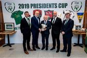 8 February 2019; President Michael D Higgins and The President's Cup with, from left, Paul Wycherley, Cork City General Manager, FAI Director of Competitions Fran Gavin, Martin Connolly, Dundalk General Manager, and FAI President Donal Conway at the FAI Headquarters in Abbottstown, Dublin, in advance of the Saturday's 2019 President's Cup Final, 9th February, at Turners Cross, between Cork City and Dundalk. Photo by Stephen McCarthy/Sportsfile