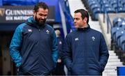 8 February 2019; Defence coach Andy Farrell, left, with Munster head coach Johann van Graan during the Ireland Rugby Captain's Run at BT Murrayfield Stadium in Edinburgh, Scotland. Photo by Brendan Moran/Sportsfile