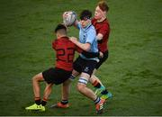 8 February 2019; Dan Carroll of St Michael's College is tackled by Adam Thomas, left, and Carl Byrne of CBC Monkstown during the Bank of Ireland Leinster Schools Junior Cup Round 1 match between St Michael's College and C.B.C. Monkstown at Energia Park in Dublin. Photo by David Fitzgerald/Sportsfile