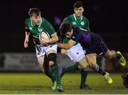 8 February 2019; David Hawkshaw of Ireland is tackled by Ross Thompson of Scotland during the U20 Six Nations Rugby Championship match between Scotland and Ireland at Netherdale in Galashiels, Scotland. Photo by Brendan Moran/Sportsfile
