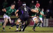 8 February 2019; John Hodnett of Ireland is tackled by Kwagga Van Niekirk of Scotland during the U20 Six Nations Rugby Championship match between Scotland and Ireland at Netherdale in Galashiels, Scotland. Photo by Brendan Moran/Sportsfile