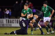 8 February 2019; Scott Penny of Ireland is tackled by Charlie Jupp and Ewan Johnson of Scotland during the U20 Six Nations Rugby Championship match between Scotland and Ireland at Netherdale in Galashiels, Scotland. Photo by Brendan Moran/Sportsfile
