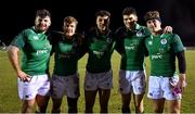 8 February 2019; Ireland players, from left, Michael Milne, David Hawkshaw, Conor Phillips, Harry Byrne and Jonathan Wren celebrate after the U20 Six Nations Rugby Championship match between Scotland and Ireland at Netherdale in Galashiels, Scotland. Photo by Brendan Moran/Sportsfile