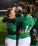 8 February 2019; Ireland players, from left, Michelle Claffey, Nichola Fryday and Eimear Considine following their victory in the Women's Six Nations Rugby Championship match between Scotland and Ireland at Scotstoun Stadium in Glasgow, Scotland. Photo by Ramsey Cardy/Sportsfile