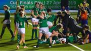 8 February 2019; Eimear Considine, left, and Leah Lyons of Ireland celebrate their side's third try during the Women's Six Nations Rugby Championship match between Scotland and Ireland at Scotstoun Stadium in Glasgow, Scotland. Photo by Ramsey Cardy/Sportsfile