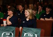 9 February 2019; Female UEFA B paticipants Brid McGinty, left, and Orla Haran during an FAI Women's Football Conference at the Clayton Hotel Dublin Airport in Dublin. Photo by Harry Murphy/Sportsfile