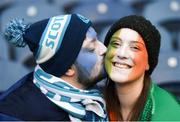 9 February 2019; Scotland supporter Frazier Grant and Ireland supporter Sarah Greene, from Dublin, ahead of the Guinness Six Nations Rugby Championship match between Scotland and Ireland at the BT Murrayfield Stadium in Edinburgh, Scotland. Photo by Ramsey Cardy/Sportsfile