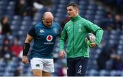9 February 2019; Rory Best, left, and Jonathan Sexton of Ireland prior to the Guinness Six Nations Rugby Championship match between Scotland and Ireland at the BT Murrayfield Stadium in Edinburgh, Scotland. Photo by Brendan Moran/Sportsfile