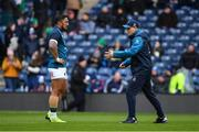 9 February 2019; Ireland head coach Joe Schmidt, right, and Bundee Aki of Ireland prior to the Guinness Six Nations Rugby Championship match between Scotland and Ireland at the BT Murrayfield Stadium in Edinburgh, Scotland. Photo by Brendan Moran/Sportsfile