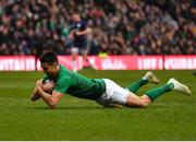 9 February 2019; Conor Murray of Ireland scores his side's first try during the Guinness Six Nations Rugby Championship match between Scotland and Ireland at the BT Murrayfield Stadium in Edinburgh, Scotland. Photo by Brendan Moran/Sportsfile