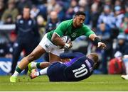 9 February 2019; Bundee Aki of Ireland is tackled by Finn Russell of Scotland during the Guinness Six Nations Rugby Championship match between Scotland and Ireland at the BT Murrayfield Stadium in Edinburgh, Scotland. Photo by Ramsey Cardy/Sportsfile