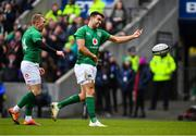 9 February 2019; Conor Murray, right, of Ireland celebrates after scoring his side's first try with teammate Keith Earls during the Guinness Six Nations Rugby Championship match between Scotland and Ireland at the BT Murrayfield Stadium in Edinburgh, Scotland. Photo by Ramsey Cardy/Sportsfile