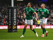 9 February 2019; Conor Murray, left, of Ireland celebrates after scoring his side's first try with teammate Keith Earls during the Guinness Six Nations Rugby Championship match between Scotland and Ireland at the BT Murrayfield Stadium in Edinburgh, Scotland. Photo by Brendan Moran/Sportsfile
