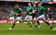 9 February 2019; Conor Murray of Ireland on his way to scoring his side's first try during the Guinness Six Nations Rugby Championship match between Scotland and Ireland at the BT Murrayfield Stadium in Edinburgh, Scotland. Photo by Brendan Moran/Sportsfile