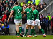 9 February 2019; Conor Murray, centre, of Ireland celebrates after scoring his side's first try with teammates Keith Earls, right, and Jack Conan during the Guinness Six Nations Rugby Championship match between Scotland and Ireland at the BT Murrayfield Stadium in Edinburgh, Scotland. Photo by Ramsey Cardy/Sportsfile