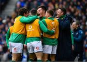 9 February 2019; Jacob Stockdale, centre, of Ireland celebrates after scoring his side's second try with teammates during the Guinness Six Nations Rugby Championship match between Scotland and Ireland at the BT Murrayfield Stadium in Edinburgh, Scotland. Photo by Ramsey Cardy/Sportsfile