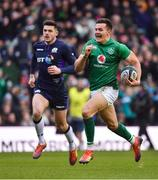 9 February 2019; Jacob Stockdale of Ireland on his way to scoring his side's second try during the Guinness Six Nations Rugby Championship match between Scotland and Ireland at the BT Murrayfield Stadium in Edinburgh, Scotland. Photo by Brendan Moran/Sportsfile