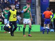 9 February 2019; Jonathan Sexton of Ireland leaves the field due to injury during the Guinness Six Nations Rugby Championship match between Scotland and Ireland at the BT Murrayfield Stadium in Edinburgh, Scotland. Photo by Brendan Moran/Sportsfile