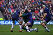 9 February 2019; Sean O'Brien of Ireland is tackled by Finn Russell, left, and Rob Harley of Scotland during the Guinness Six Nations Rugby Championship match between Scotland and Ireland at the BT Murrayfield Stadium in Edinburgh, Scotland. Photo by Brendan Moran/Sportsfile