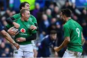 9 February 2019; Keith Earls, centre, of Ireland celebrates after scoring his side's third try with teammates Joey Carbery, behind, and Conor Murray during the Guinness Six Nations Rugby Championship match between Scotland and Ireland at the BT Murrayfield Stadium in Edinburgh, Scotland. Photo by Ramsey Cardy/Sportsfile