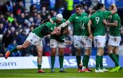 9 February 2019; Joey Carbery, left, of Ireland is congratulated by teammates Rory Best and Peter O'Mahony during the Guinness Six Nations Rugby Championship match between Scotland and Ireland at the BT Murrayfield Stadium in Edinburgh, Scotland. Photo by Ramsey Cardy/Sportsfile